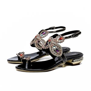 Mask Flat Rhinestone Non-slip Black Style Sandals Sandals Women's Travel Summer Shoes Beach Fashion Wild Eptcw