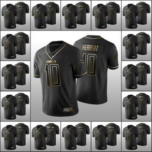 los AngelesCargadoresMen # 97 Joey Bosa 13 Keenan Allen 10 Justin Herbert personalizada Mujeres JóvenesNFL Jersey Negro Golden Edition