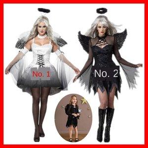 ropa de Halloween Headwear traje de ángel demonio traje gris blanco negro padre-niño niños ropa de adultos con alas de ángel tocado WJS