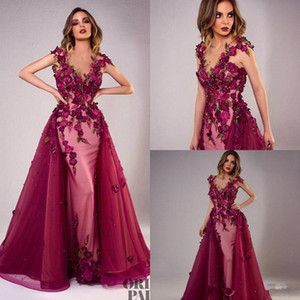 2021 Sexy Tony Chaaya Evening Dresses With Detachable Train Burgundy Beads Mermaid Prom Gowns Lace Applique Sleeveless Luxury Party Dress