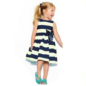 Cute Girl Kids Children Stripe Knot Bow Summer Princess Party simple and casual sweet style bebe Dress July20