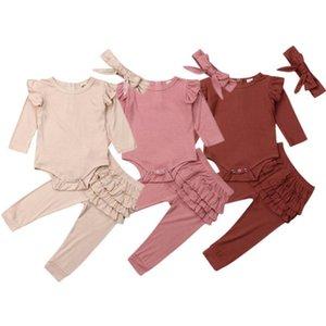Baby Girl Tenues filles solides Ruffle Hauts Pantalons Jupe Bandeau 3PCS Ensembles Designer tout-petits Vêtements fille Set Boutique Vêtements bébé DW4663