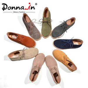 Donna-in Ankle Boots for Women Autumn Boots Genuine Leather Shoes Flat Casual Suede Booties Woman Lace up Plus Size Ladies 200921