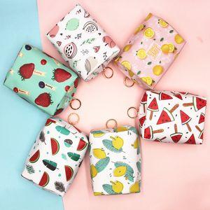 Candy Color Fruit Printing Coin Purse Pink Peach Watermelon Strawberry Cosmetic Bag Girls Make Up Bag Large Capacity Storage Bag Handbag