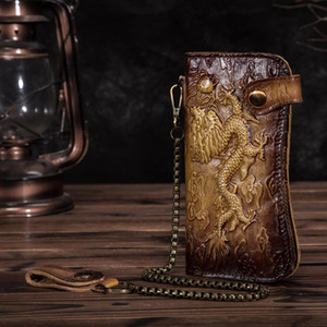 Fashion Cattle Male Organizal Real leather Design Dargon Tiger Emboss Checkbook Iron Wallet Purse Clutch Handbag 1088 d