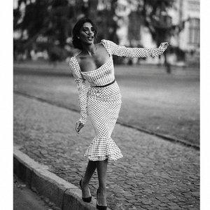 polka d'automne de femmes noires à manches longues dot bureau mince avec une robe en queue de poisson collier de mot (sans ceinture) Y200103 collr fishtil o OEET #