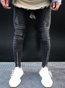 Neverfunction Hem Fermuar Ripped Diz Biker Jeans Erkekler Motosiklet Skinny Koyu Gri Stretch Moto Denim Pantolon Koşucular Artı boyutu 38