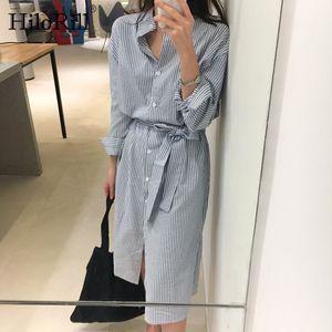 HiloRill Mulheres Long camisa listrada Vestidos 2020 Office Lady luva longa Dividir Vestido Fique Collar Casual Vestido Midi Com Belt