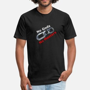 nessuna divinità né padroni anarchici uomini della maglietta di stampa 100% cotone formato camicia S-3XL quadri famosi Umorismo Lettera Autunno Primavera