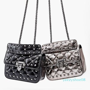 2020 Rivet Female Bag Leather Small Flap Chain Strap Shoulder Bags Lock Design Crossbody Bag Trend Solid Cell Phone Handbag y08