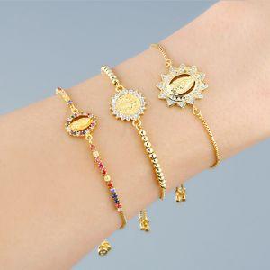 FLOLA Золотая цепь Богородица браслеты шарма для женщин Кристалл браслет Церковные ювелирные изделия Оптовая Virgen-де-Гуадалупе brtc44