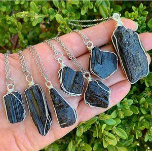 Natural rough stone pendant necklace pendant Irregular black tourmaline pendant tourmaline hand-woven