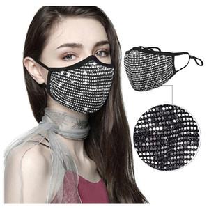 мода горного хрусталь маски для лица многоразовой моющейся дизайнерской маски шику маска cubrebocas faceshield дизайнер женщин хлопка Masques lavable