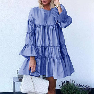 Rétro robe à manches longues plissées Femme Automne Casual solide O Neck A-ligne Robes élégante de partie Robe à volants Robe 5XL