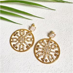 Bohemian New Fashion Large Round Zircon Earrings for Women Golden Dangle Earrings Jewelry for Women