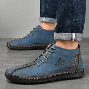 Men male man plus size ankle boots matin shoe mens lace up PU leather high-top flats zapatos de hombres personlizar zapatosM0685