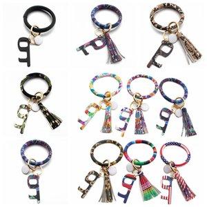 Bracelet Touchless Porte-clés No Touch porte d'ascenseur Crochet Ouvre Contactless Bracelet en acrylique Glands Key Ring Party Favor cadeau LJJP318