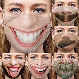 Lustige 3D Expression Fashion Gesichtsmasken Designer Cartoon-Muster Netter Druck Baumwolle Masken Anti-Staub Waschbar Wiederverwendbare Cycling Mask D81210