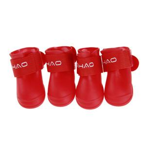 4PCS Set Outdoor Pet Rain Shoes Non-slip Durable Rain Boots Small Dog Large Dog Waterproof Protective Pet Rain Boot 8 Color XXL DBC DH0982-4