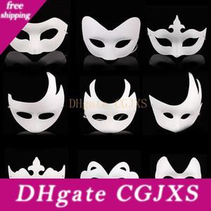 Weiß Unpainted Gesicht Plain / Blank Paper Pulp Maske Diy Tanzen Weihnachten Halloween-Party-Maskerade-Masken-Za4617
