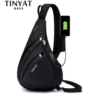 TINYAT New Man Sling Shoulder Bag Anti-Theft Crossbody Bag for 9.7 Pad USB Charge Waterproof Travel Messenger Casual Chest Bag