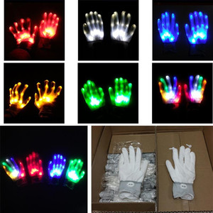 LED-Handschuh-Partei-Dekorationen Bunte blinkende Handschuhe Party Supplies Regenbogen glühende Handschuhe Fluorescent Dance Performance Props XD23839
