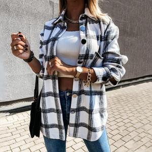 Frauen Plaid Bluse Mantel-lange Hülsen-Knopf-Übergroßes Hemd drehen unten Kragen Thick Damen Vintage Top Female Lange Kleidung