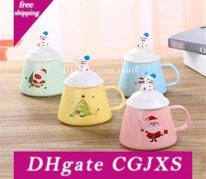 Popüler kahvaltı Süt Kupası Sevimli Çömlekçilik Ve Porselen Noel Coffee Cup Kapak Kaşıklı