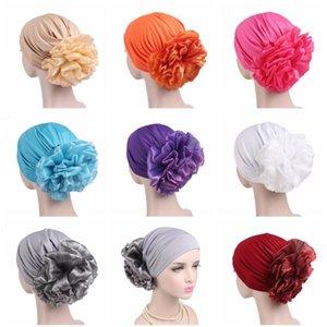 Muslim Bandanas Islamische Turbante Cap Blumen-elastische Bandanas Turban Frauen Chemo Cap Haarausfall Strickmütze Gebet Hut Art und Weise neu