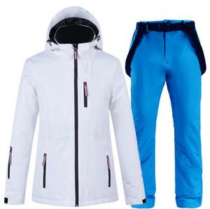 Женский снег костюм одежда Set Лыжные костюмы водонепроницаемой ветрозащитные Зимняя одежда Mountain Snowboarding Тепловая Лыжные куртки + снег нагрудники Брюки X8T