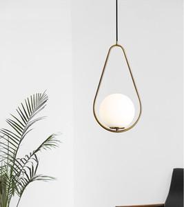 Neue heiße E27 LED-Glasleuchter Kreative Nordic Schlafzimmer Dining Hall Aisle Balkon Dekoration LED-Kugel-Glasleuchter