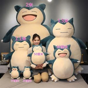 100/150 / 200cm Riesen Snorlax Plüschtier Abdeckung anime Tasche Snorlax Plüschkissenbezug Cartoon japanischer weicher Kissenbezug mit Reißverschluss 200925