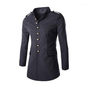 Однобортный Длинные рукава Мужские пальто Карман способа зимы Mens Tops Сплошной цвет Mens Trench Coat Single