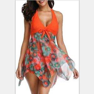 Blumendruck-Frauen-Badebekleidung plus Größe Über Größe Frauen Mesh-V Ansatz Art Swimdress mit bunten Punkten Kleidung Größe S-5XL