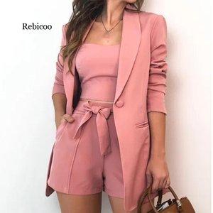 Rebicoo Conjunto de 3 piezas mujeres del verano forman atan para arriba los cortocircuitos Slim Fit sujetador Tops Escudo de manga larga Traje chaqueta suelta