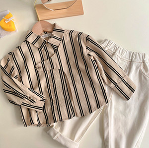 Children stripe shirt 2020 Fall new boys lapel single-breasted long sleeve shirts kids cotton casual tops A4704