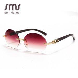Weinlese-runde Sonnenbrille-Männer 2020 Fahsion Diamant-Sonnenbrille-Frauen ovales Kristall Holz Glas-randlose Brillen UV400