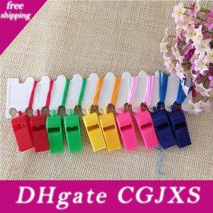 2880PCS / Lot Förderung-bunte Plastik Sport Pfeife mit Lanyard 6 Farben mischten DHLFedex freies Verschiffen