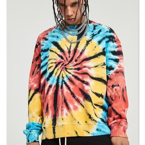 Autumn 2020 Colorful Spiral Tie Dye Coat Dark High Street Fashion Small Crowd Sudadera Hombre Sweatshirt Hoodies 0924