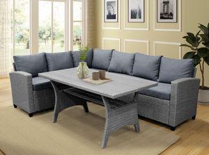 Mesa de Jantar Set Outdoor Furniture PE Rattan Wicker Conversação Set All-Weather Sofá secional Set com mesa macia Almofadas SH000073AAE
