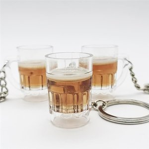 Cool Lovely Resin Crafts Beer Cup Keychain Unisex Women Men Simulation Mugs Pendant Keyring Cold Drink Jewelry Auto Accessories