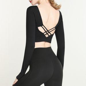 LUYOGASPORTS LU Tops Lu Yoga Costume de yoga à manches longues à manches longues avec coussin de poitrine Femme Courte Gym Sitting Fitness Hollow Out Sexy Back T-shirt