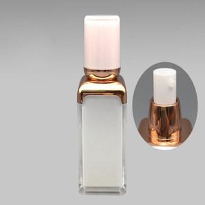 15 мл Новый квадратный акриловый вакуумный лосьон Бутылка фарфоровой белый бутылка для тела гальваника золотой насос