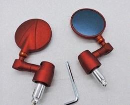 Motorrad CNC-Lenker Spiegel Aluminium Jahrgang Folding Hand Rear View Mirror Red 3rtH #