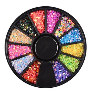 DIY Nail Art Wheel Tips Nail Sticker Sequins Glitter Rhinestone Nails Art Decoration Colorful Acrylic Diamond Dazzling Drill 107