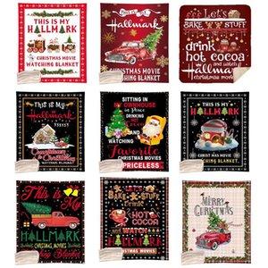 Couverture de Noël 130 * 150cm Design Noël Couverture d'impression numérique molleton simple couche Quilt Joyeux Noël Canapé Throw Blanket