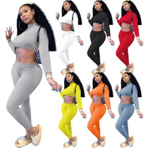 Women Tracksuit 2 Piece Set Ribbed Yoga outfits Fashion Long Sleeve Crop Top Shirts Stretchy Rib Leggings Gym Sets ladies Sports Suits J663