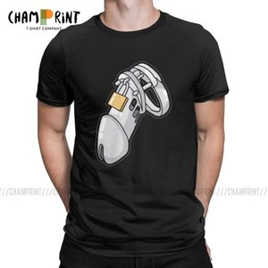 Men's Bdsm Chastity Cage T Shirt Chastity Device Cuckold Slave Sub Penis Cage Clothing Fashion Crew Neck Tees Gift Idea T-Shirts
