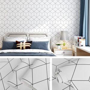 Modern Simple Geometric Wallpaper Sticker 3d diy Self Adhesive Bedroom Wall Decals Cube Wallpapers Furniture Room Behang QZ175
