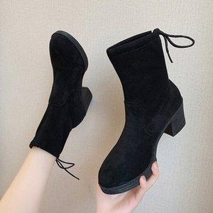 2019 المرأة منتصف الكعوب أحذية الكاحل أحذية امرأة الخريف الشتاء الدانتيل يصل الكعوب مربع مضخات الدافئة الثلوج أحذية النساء الأحذية موهير أريات الأحذية WO BJ0T #